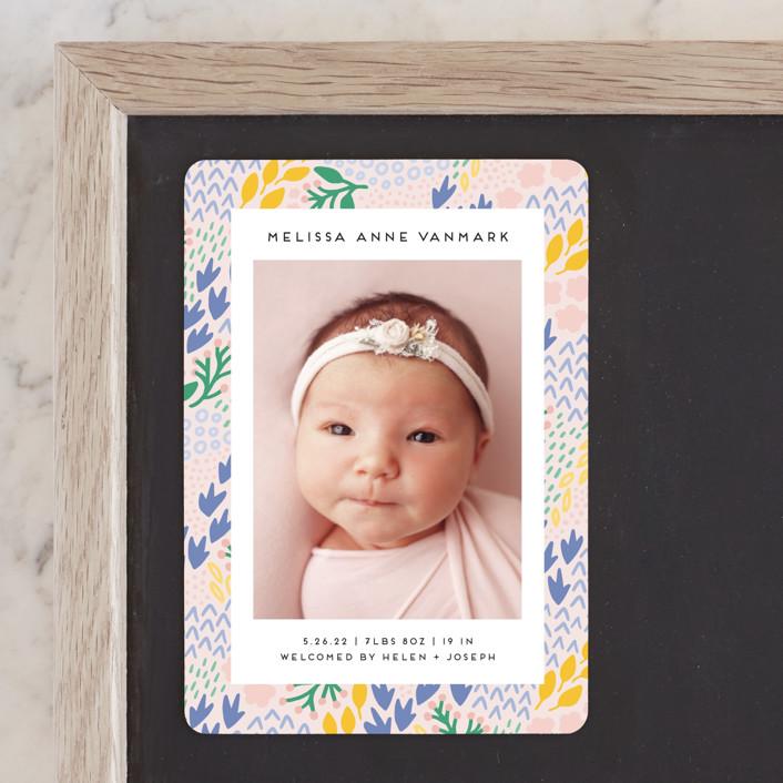 """Little Foliage"" - Birth Announcement Magnets in Blush by Genna Blackburn."