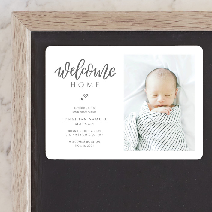 """Welcome Home Baby"" - Birth Announcement Magnets in Shadow by Carolyn Kach."