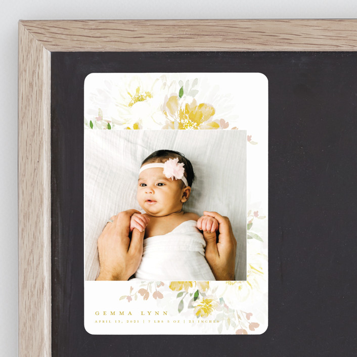 """""""Draping Blooms"""" - Birth Announcement Magnets in Canary Yellow by Grace Kreinbrink."""
