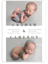 This is a grey birth announcement magnet by Michelle Taylor called Two to Love with standard printing on magnet paper in magnet.