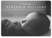 This is a white birth announcement magnet by MC designs called Introducing our Baby with standard printing on magnet paper in magnet.