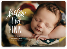 This is a white birth announcement magnet by Ink and Letter called Hello, It's Me with standard printing on magnet paper in magnet.