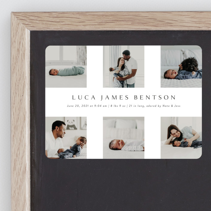 """love multiplied"" - Birth Announcement Magnets in Onyx by Kasia Labocki."