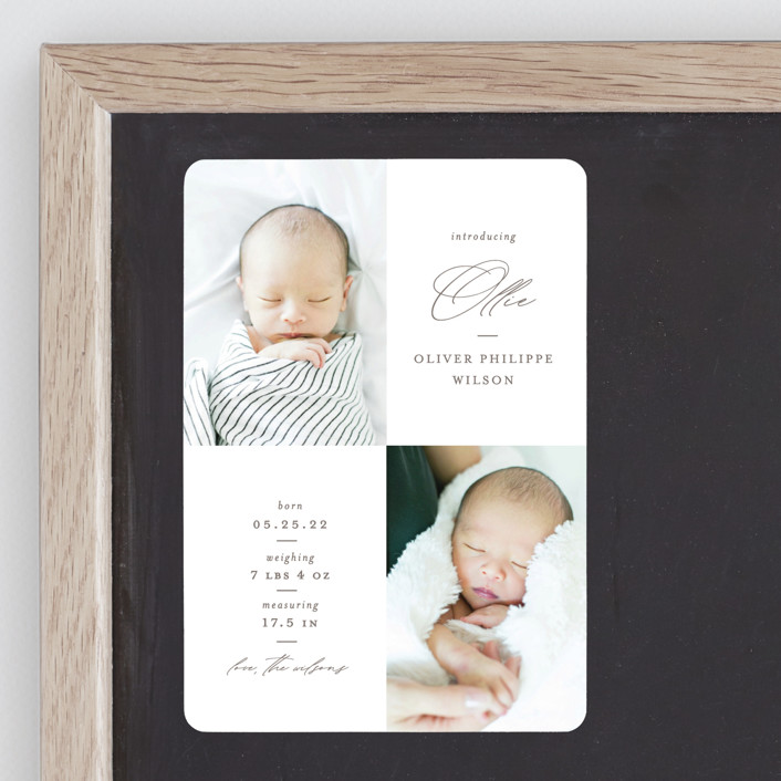 """""""Ollie"""" - Birth Announcement Magnets in Hickory by Mansi Verma."""