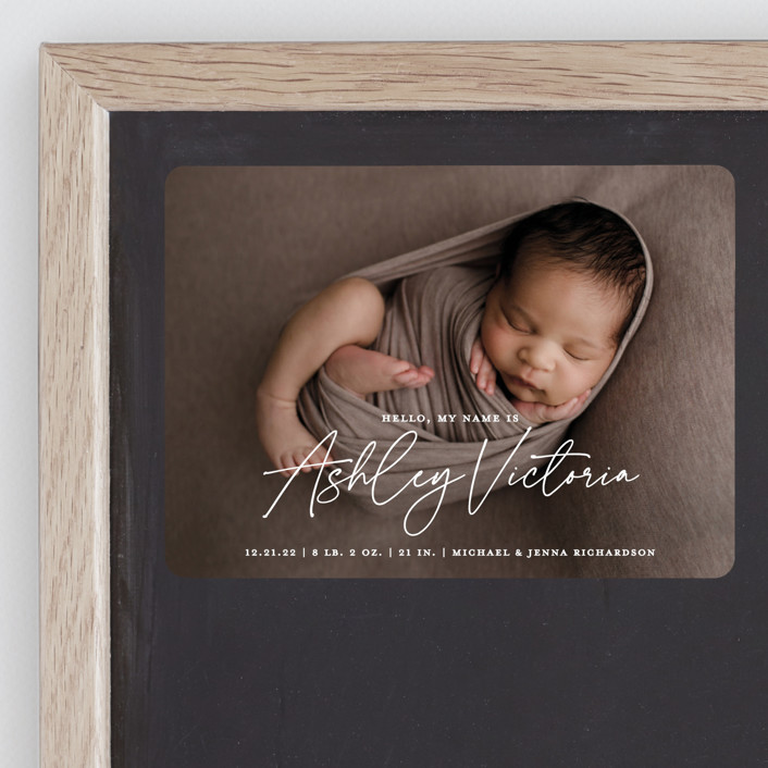 """""""Hello, My Name Is"""" - Modern Birth Announcement Magnets in Starlight by Kerry Doyle - Paper Dahlia."""