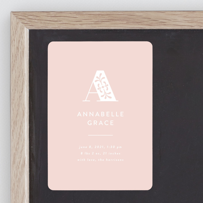 """""""monogram overlay"""" - Preppy Birth Announcement Magnets in Blush by Susan Asbill."""