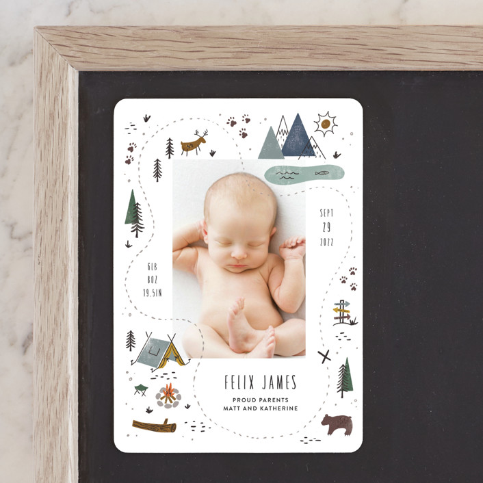"""""""Our Adventure"""" - Whimsical & Funny Birth Announcement Magnets in Blue Spruce by Jamie Bartlett."""