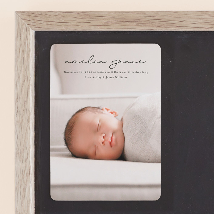 """pure grace"" - Birth Announcement Magnets in Onyx by Kasia Labocki."