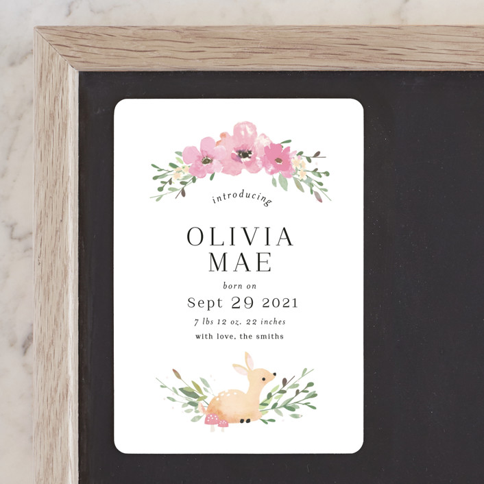 """""""Lil Deer"""" - Whimsical & Funny Birth Announcement Magnets in Blush by Itsy Belle Studio."""