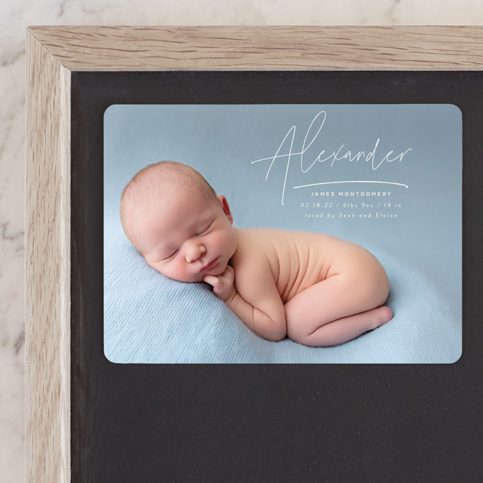 """""""Penned"""" - Modern Birth Announcement Magnets in Cotton by Jen Banks of Ink and Letter."""