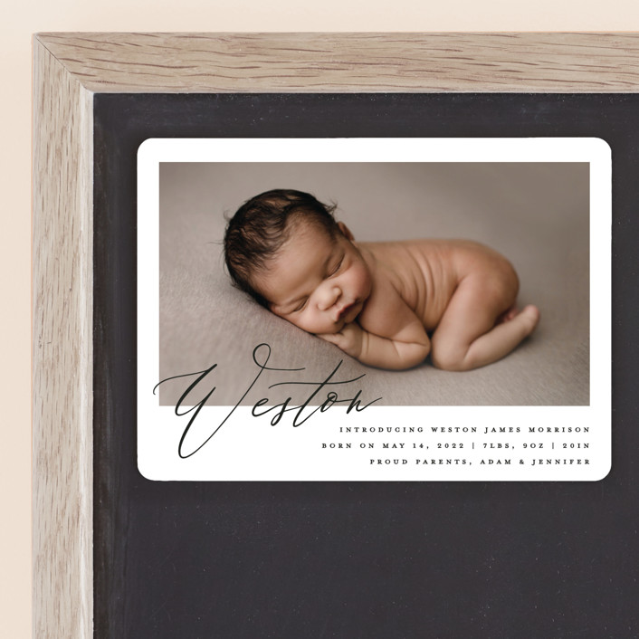 """Sweet Introduction"" - Birth Announcement Magnets in Cloud by Carolyn Nicks."