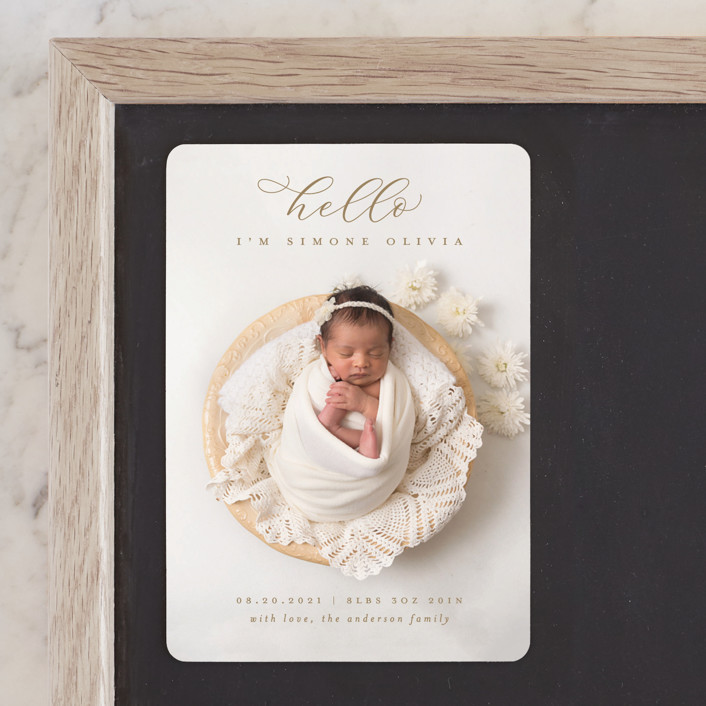 """""""Hello There"""" - Birth Announcement Magnets in Sand by Michelle Taylor."""