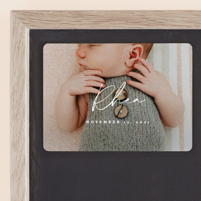 """Simplest"" - Modern Birth Announcement Magnets in Petal by Rebecca Daublin."