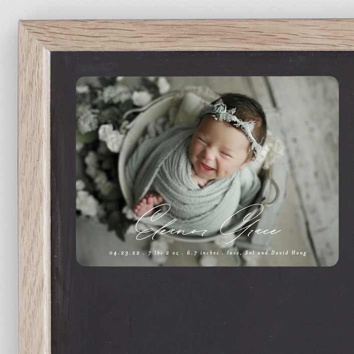 """""""Our Little Bundle"""" - Modern Birth Announcement Magnets in Snow by Mansi Verma."""