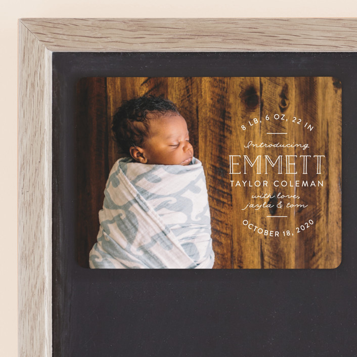 """""""Basic Intro"""" - Rustic Birth Announcement Magnets in Linen by Pink House Press."""