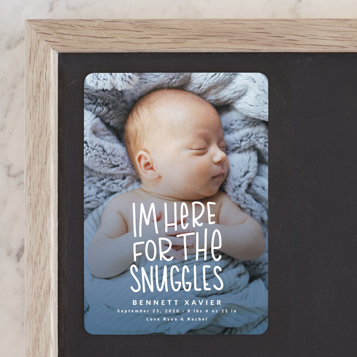 """""""Snuggles"""" - Birth Announcement Magnets in Dusty Blue by Mayflower Press."""