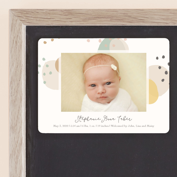 """""""Dreamy Bubbles"""" - Birth Announcement Magnets in Eggnog by Betsy Siber."""