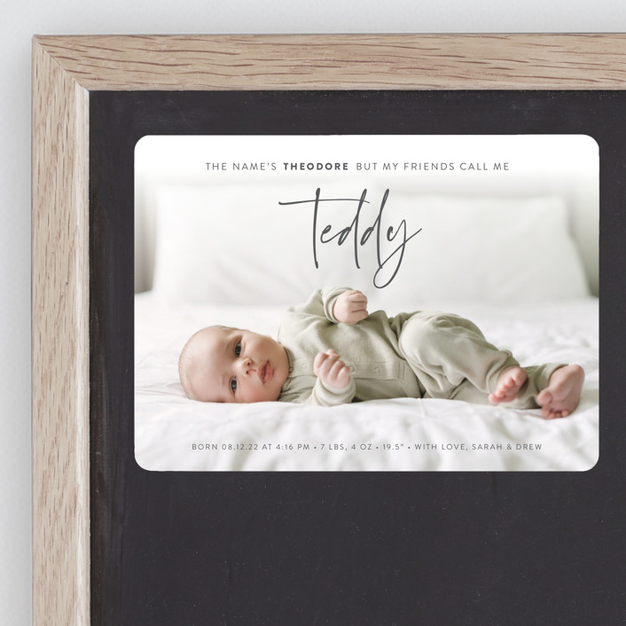 """My Nickname"" - Funny Birth Announcement Magnets in Shadow by Carolyn Kach."