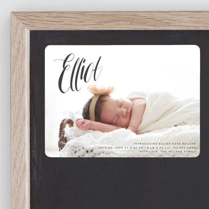 """""""In the Clouds"""" - Modern Birth Announcement Magnets in Slate by Kasia Labocki."""