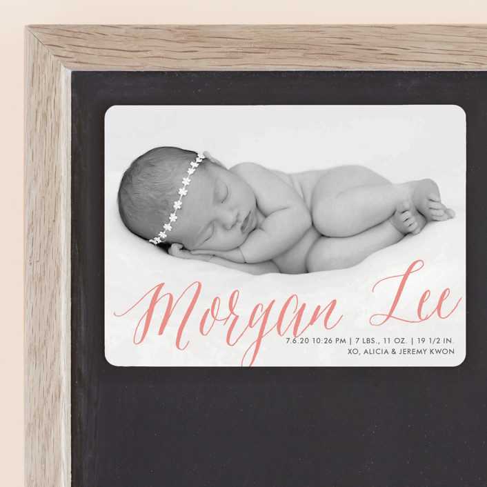 """""""Sweetest Gift"""" - Birth Announcement Magnets in Grapefruit by Paper Dahlia."""