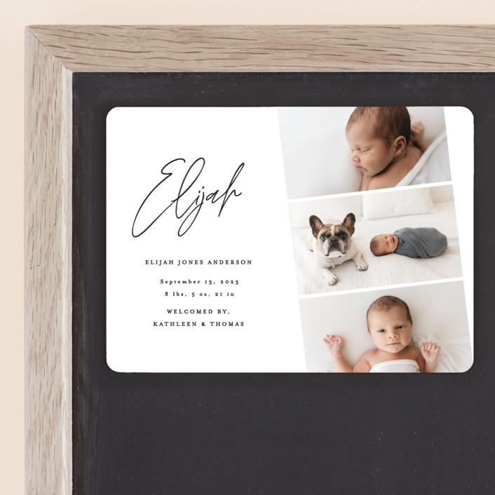 """""""Modern Photo Strip"""" - Birth Announcement Magnets in Ink by Anna Elder."""