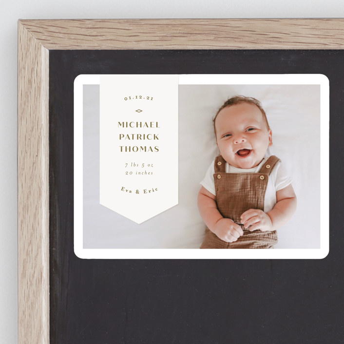 """""""Pennant"""" - Preppy Birth Announcement Magnets in Olive by Anastasia Makarova."""
