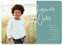 This is a green birth announcement magnet by Pixel and Hank called Forever Love with standard printing on magnet paper in magnet.