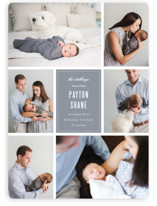 This is a grey birth announcement magnet by Sara Hicks Malone called Distinguished with standard printing on magnet paper in magnet.