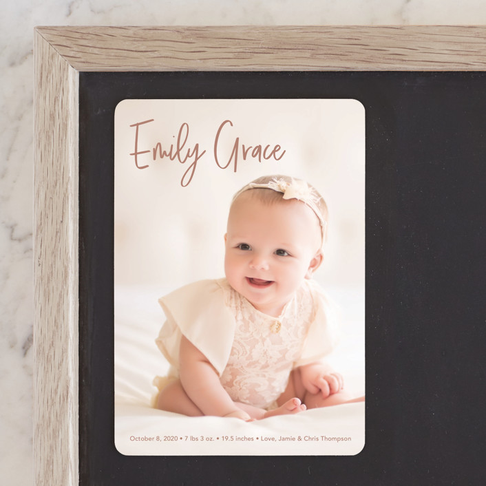 """""""Elegance in the name"""" - Birth Announcement Magnets in Dusty Rose by Lorena Depante."""