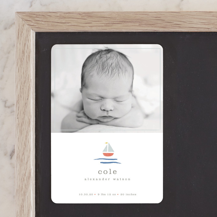 """""""sailor"""" - Birth Announcement Magnets in Marina by Shannon Hays."""
