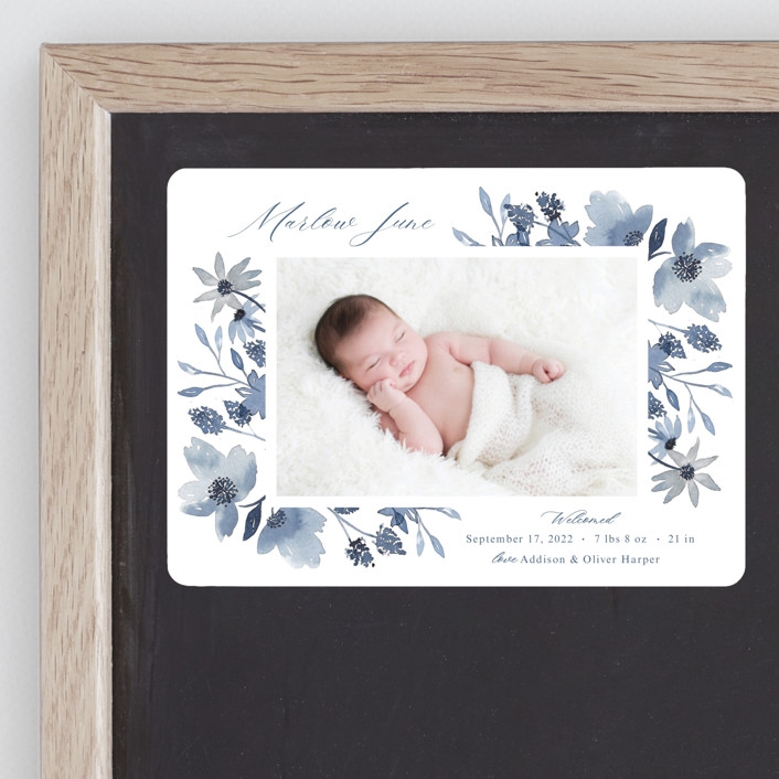 """""""Dusty Floral"""" - Birth Announcement Magnets in Blueberry by Mayflower Press."""