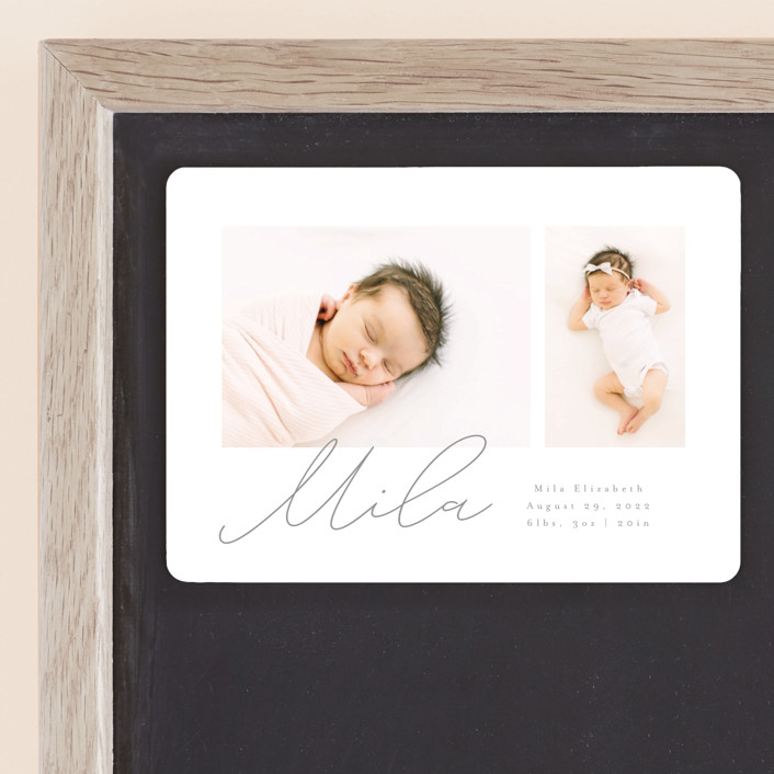 """""""New Addition"""" - Modern Birth Announcement Magnets in Stone by Angela Thompson."""