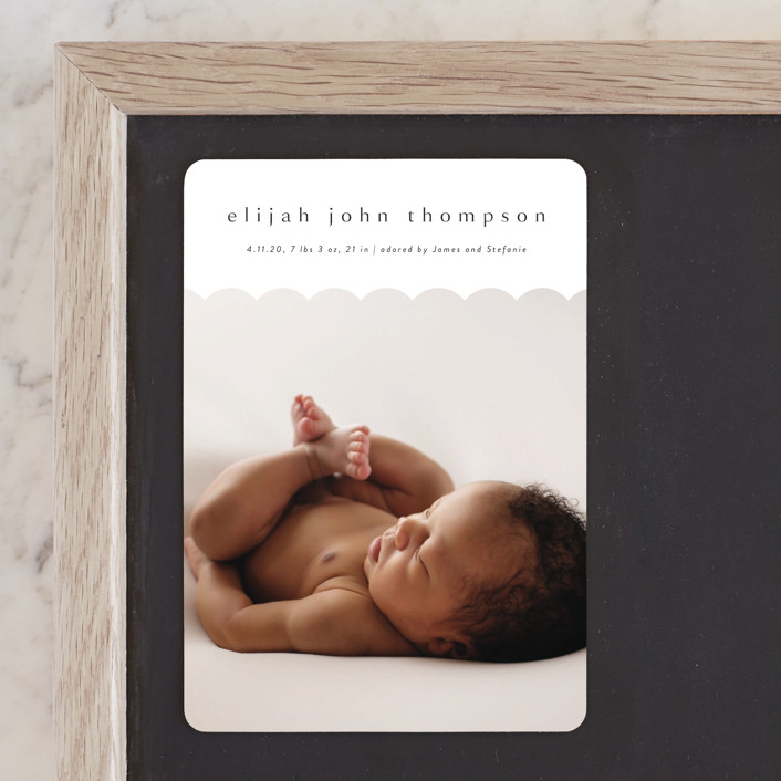 """""""Sweet Simplicity"""" - Birth Announcement Magnets in Onyx by Kasia Labocki."""