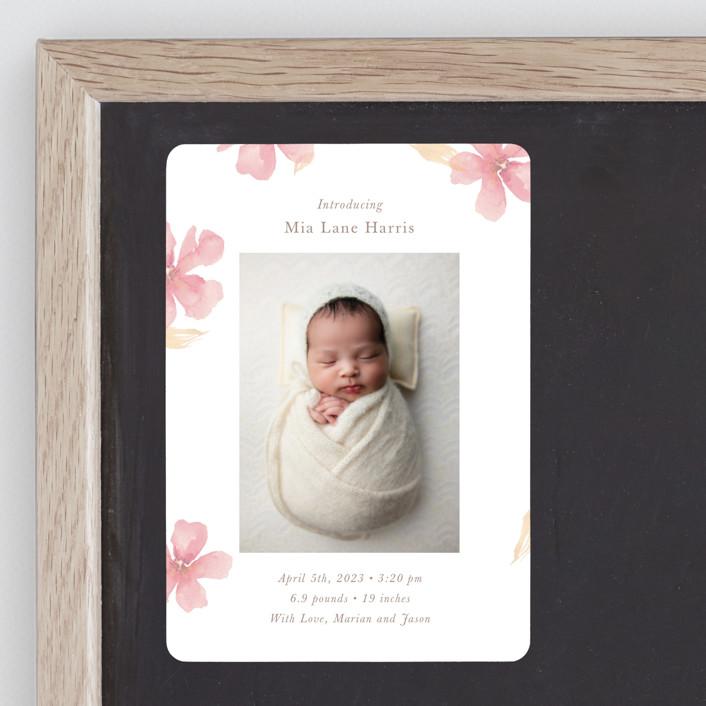 """Flower Petals"" - Birth Announcement Magnets in Petals by Melinda Denison."
