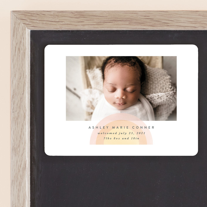 """""""our rainbow"""" - Birth Announcement Magnets in Rose by Angela Garrick."""