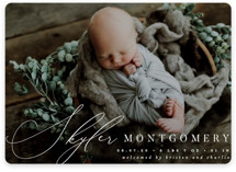 This is a white birth announcement magnet by Everett Paper Goods called Signature with standard printing on magnet paper in magnet.