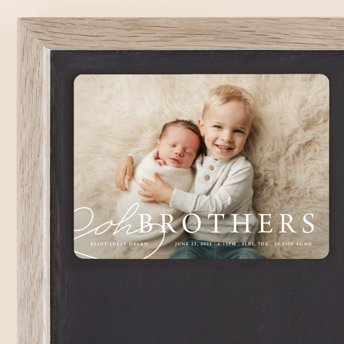 """Oh Brother"" - Funny Birth Announcement Magnets in Snow by Bethany Anderson."