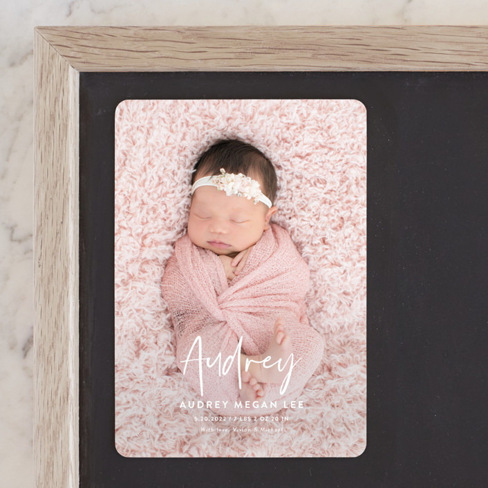 """""""Say My Name"""" - Modern Birth Announcement Magnets in Snow by Yaling Hou Suzuki."""