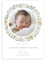 This is a green birth announcement magnet by Anna Ducos called Tiny Safari with standard printing on magnet paper in magnet.