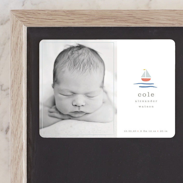 """""""sailor"""" - Preppy Birth Announcement Magnets in Marina by Shannon Hays."""