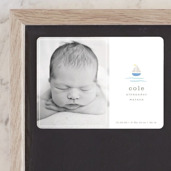 """sailor"" - Preppy Birth Announcement Magnets in Marina by Shannon Hays."