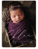 This is a white birth announcement magnet by Lea Delaveris called Just Lovely with standard printing on magnet paper in magnet.