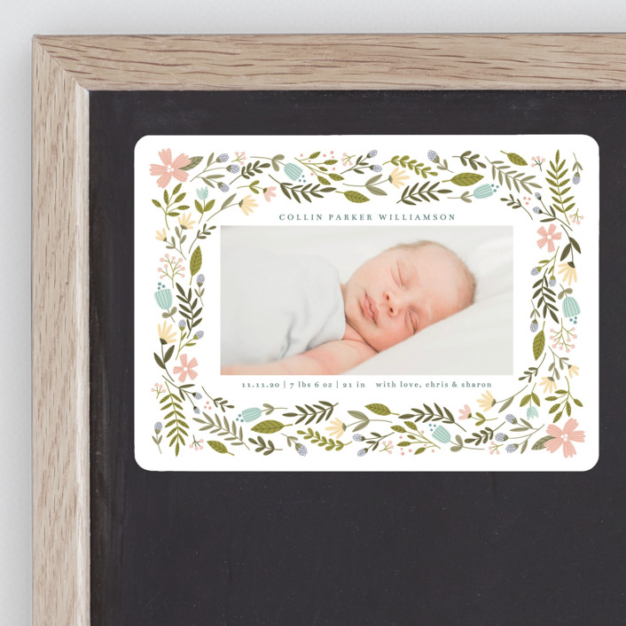 """""""Little Floral Frame"""" - Birth Announcement Magnets in Buttercup by Kristen Magee."""