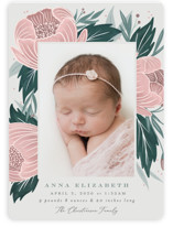 This is a green birth announcement magnet by Joanna Griffin called Peonies with standard printing on magnet paper in magnet.