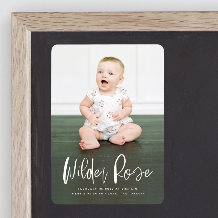 """Whimsical Name"" - Modern Birth Announcement Magnets in White Linen by Erica Krystek."