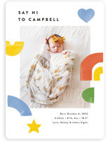 This is a colorful birth announcement magnet by Ariel Rutland called Bright Shapes Collage with standard printing on magnet paper in magnet.