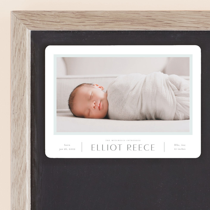 """""""So Proud"""" - Preppy Birth Announcement Magnets in Sky by Carolyn MacLaren."""
