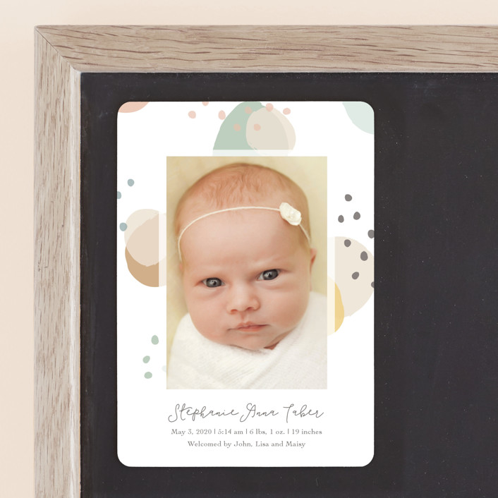 """""""Dreamy Bubbles"""" - Modern Birth Announcement Magnets in Eggnog by Betsy Siber."""