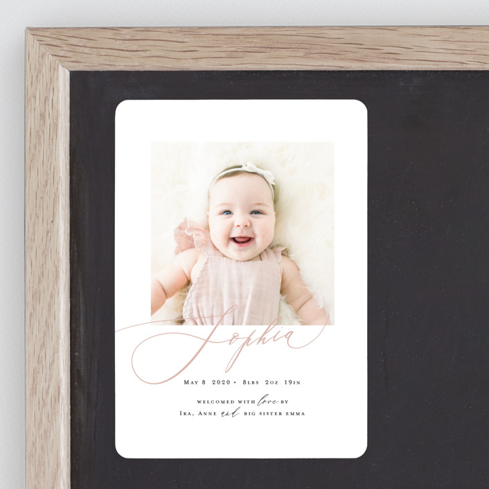 """""""Happy Baby"""" - Birth Announcement Magnets in Peach Bud by Benita Crandall."""