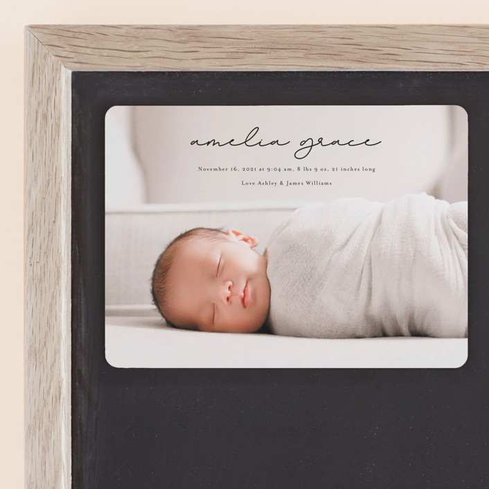 """""""pure grace"""" - Birth Announcement Magnets in Onyx by Kasia Labocki."""